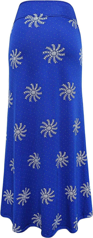CHARTOU Women's Summer Lightweight High Waist Printed Fold Over Beach Maxi Skirt