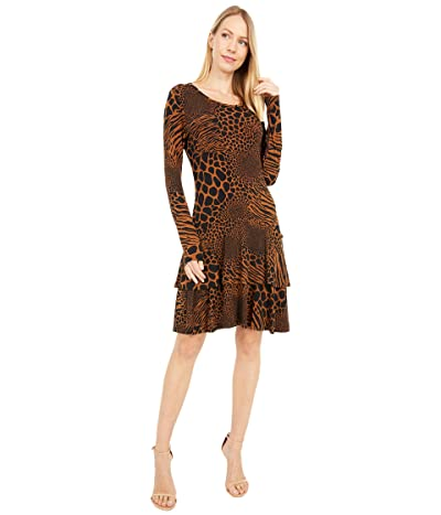MICHAEL Michael Kors Animal Patchwork Flounce Dress (Caramel) Women