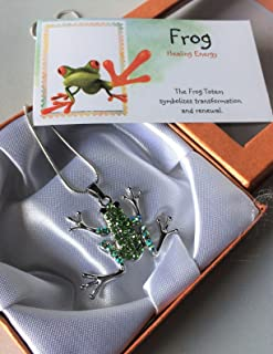 Smiling Wisdom - Frog Totem Spirit Animal Guide Gift Set - Frog Necklace and Have a Hoppy Day Greeting Card - Gift for a Tween, Teen, Young Adult, Woman, Birthday, Any Occasion - Green