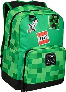 JINX Minecraft Survival Badges Kids School Backpack, Green, 17