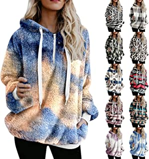 Flannel Jacket for Women Trendy Long Sleeve Pullover Reversible Fleece Drawstring Hoodie,Womens Rain Poncho