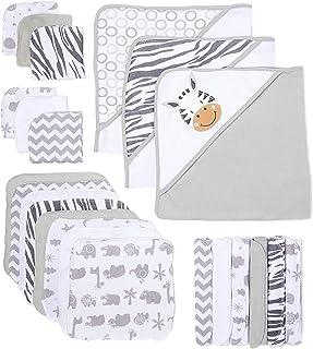 Spasilk Baby 23Piece Bath Hooded Towels & Washcloths Set for Newborn Boys & Girls, White Zebra