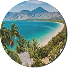 Lunarable Australia Mouse Pad for Computers, Port Douglas Beach in Sunny Summer Day Seascape Tropical Panorama, Round Non-...