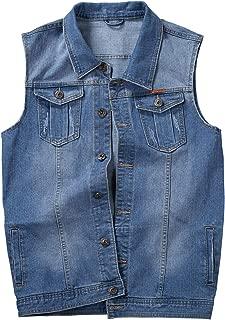 Jenkoon Men's Denim Lapel Vest Casual Sleeveless Jean Jackets
