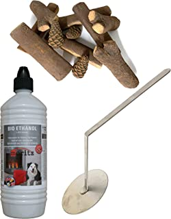 Moritz - Set de iniciación (12 botes de 1000 ml de bioetanol + 1 quemador de llama + 11 piezas de madera de cerámica para quemador de chimenea, estufa, combustión de seguridad