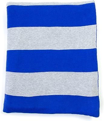 DARZZI Rugby Stripe Throw, Dazzling Blue