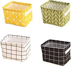 Lannu Canvas Storage Bins Organizer Toy Basket Classical Black and White Fabric Cloth Home Decor,Small,Set of 4 (Green)