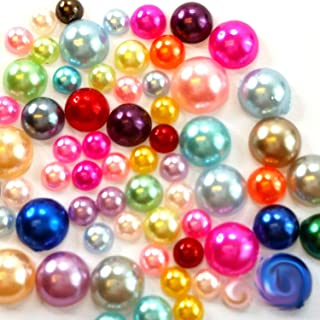 1500 4mm-8mm Colorful DIY Art Faux Pearls Flat Back Cabochon Mix Colors & Sizeship with samples from GreatDeal68