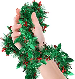 Bright Green Mistletoe Christmas Tree Tinsel Garland Metallic Streamers Birthday Celebrate a Holiday Happy New Years Eve Indoor and Outdoor Disco Supplies
