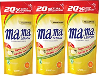 Mama Lemon Dishwashing Liquid Refill, Lemon Gold, 600ml (Pack of 3)
