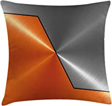 Ambesonne Orange and Grey Throw Pillow Cushion Cover, 3D Style Machinery Structure Image Detailed Vivid Modern Contrast Colors, Decorative Square Accent Pillow Case, 18 X 18, Orange Gray