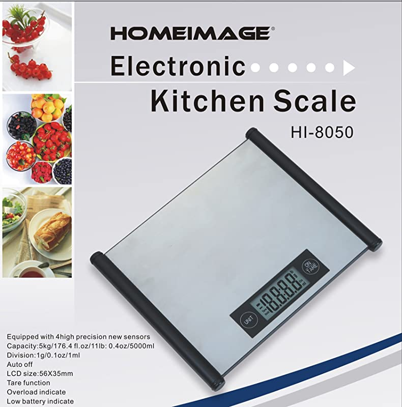 HOMEIMAGE Professional Stainless Steel Surface Digital Kitchen Scale With Touch Sensor 11lbs 5kg