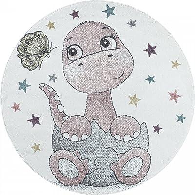 Carpet 1001 Kinderteppich Dino Baby Saurier Kinderzimmer Teppich Rosa - 160x160 cm Rond