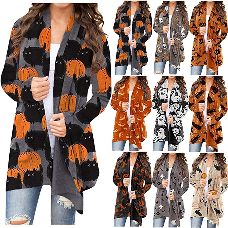 Cardigans for Women, Women's Halloween Long Sleeve Open Front Cardigan Funny Cute Pumpkin Black Cat Ghost Lightweight Coat