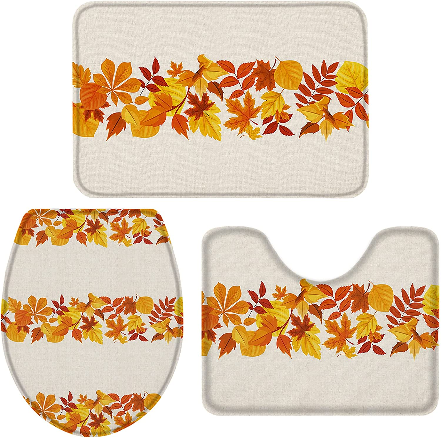 OneHoney Fall Watercolor Minneapolis Mall Horizontal Maple Pieces Bath 3 R specialty shop Leaves