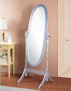 GTU Furniture Swivel Adjustable Full-Length Oval Wood Cheval Floor Mirror, in White/Black/Cherry/Oak/Silver/Gold Finish (Silver)