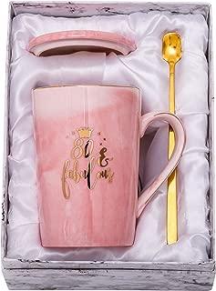 ShinnyWis 80 and Fabulous Mug - 80th Birthday Gifts for Women - 80th Anniversary Gift Idea for Women Her Wife Mom Grandma Sister BFF Friend 14oz birthday Mug