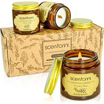 SCENTORINI Scented Candle, (3x99g, Verbena, Rosemary, Sage) Soy Wax Candle, Aromatherapy Candles Gift Set