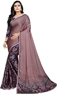 Jaanvi fashion Women's Georgette Indian Ethnic Saree with Blouse Piece(The-Sky-Pink)