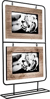Space Art Deco Double 6x4 Black Wire Stand Picture Frame - Holds Two 6x4 Photos - Black Iron - Tabletop Display - Landscape - Hanging Frame - Flexible Metal Tabs - Light Frame Border (6x4 - Two)