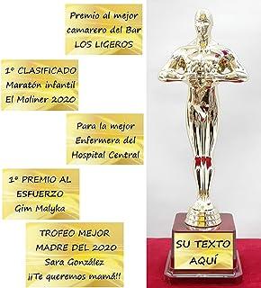 Estatuilla Tipo Óscar para Personalizar y Regalar en Ocasiones Especiales, Trofeo Personalizado. Med.24,7 cm
