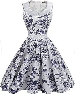 ACEVOG Women's Vintage 1950's Floral Rockabilly Prom Party Swing Dress