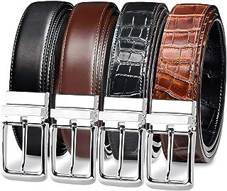 مجموعة من قطعتين من احزمة بوجهين للرجال - حزام من جلد البقر وجلد التمساح الطبيعي