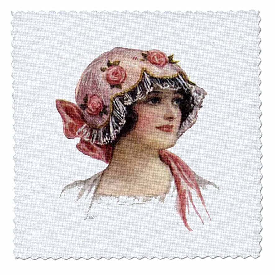 3dRose Victorian Lady with Rose Lace Bonnet - Quilt Square, 12 by 12
