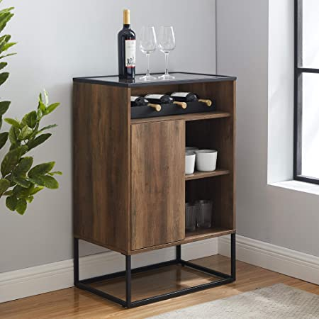 Walker Edison Mid Century Modern Wood and Glass Bar Entryway Serving Storage Cabinet Doors Dining Room Console, Dark Walnut