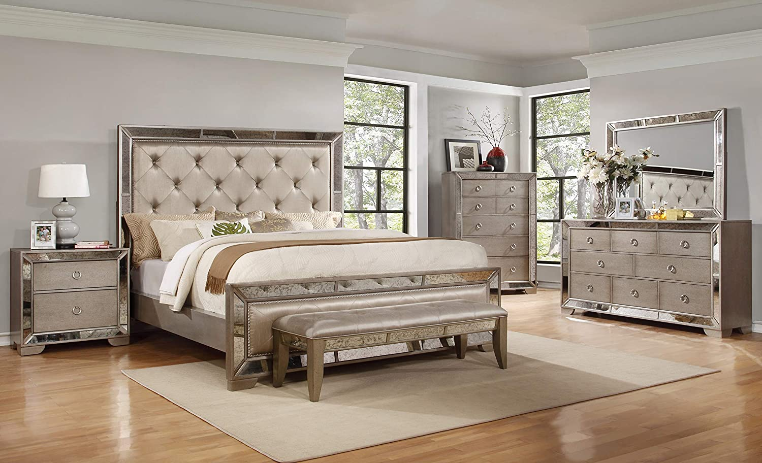 Best Master Furniture Ava Mirrored 6 Pcs Bedroom Set with 5 Drawer Chest, Queen, Silver/Bronze