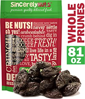 Sincerely Nuts Dried Jumbo Prunes with Pits (5 LB)-Large-Sized Dried Plums-Filled with Fiber-Sweet and Delicious Snacks-High in Essential Vitamins and Minerals-Add Whole Prunes to Your Cooking