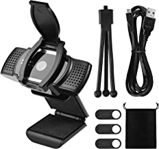 Webcam with Microphone, 1080P Computer Camera Web Cameras for Computers Desktop Streaming with Tripod and 4pcs Camera Covers
