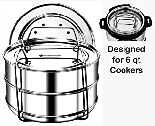 EasyShopForEveryone Stainless Steel 2 Tier Stackable Steamer Inserts - Compatible with Instant Pot in Pot Accessory 6 qt, 2 Lids, Cheesecake Baking Pan, Lasagna Pans, Pressure Cooker Accessories