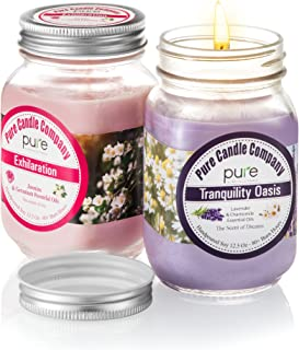 Pure Soy Candle 12.5 Oz Candle Jar. 2 Pack Lavender & Jasmine Natural Scented Candles with Essential Oils Aromatherapy. 80+Hours Clean Burn! Best Yankee Candle Gift for Men & Women! …