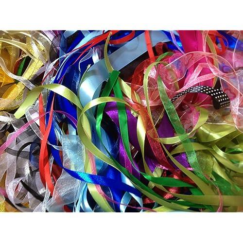 10 M of  Satin Ribbon Bargain Bundles 10 colours x 1m Assorted Colours