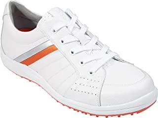 Southport Men's Golf Shoes Spiked SX0811 (White/Silver/Orange, 8)