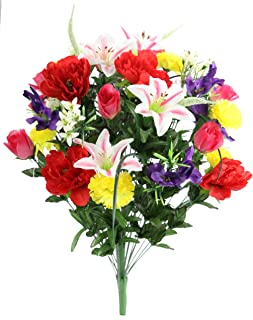 Admired By Nature ABN1B001-SPRING 40 Stems Artificial Full Blooming Lily, Rose Bud, Carnation and Mum with Greenery Mixed Flower Bush, Spring,