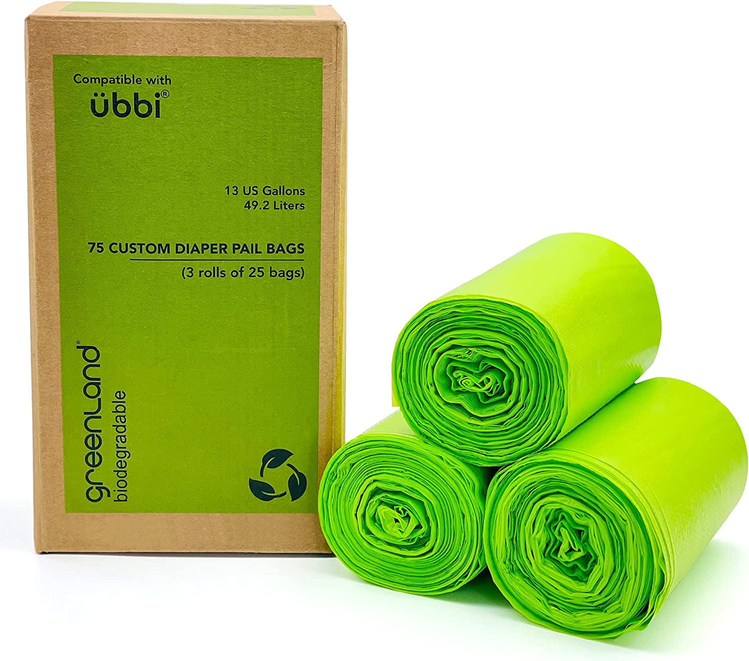 Greenland Biodegradable Diaper Pail Bags Compatible with Ubbi – Lemon Scented (75 Bags, 13 Gallons)