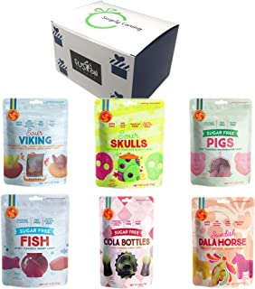 Candy People Gluten Free Gummies Variety Packs, Sour Viking, Sour Skull, Pigs Marshmallow, Fish, Cola Bottles, and Dala Horse in Fusion Select Gift Box