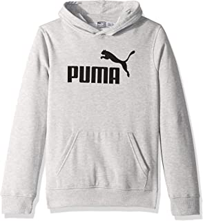PUMA Big Boys' Fleece Pullover Hoodie, Light Heather Grey, M