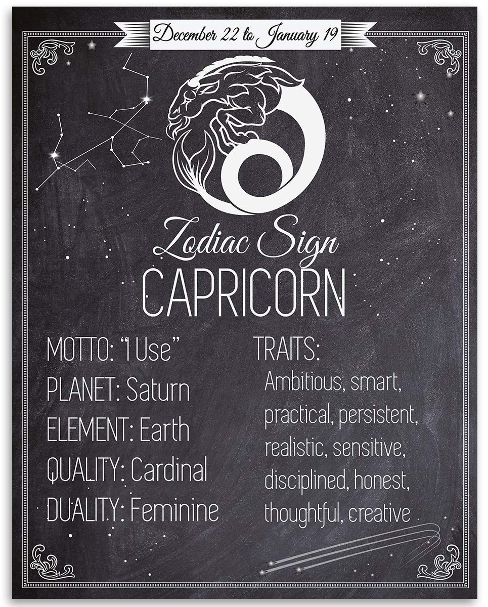 Zodiac Sign Capricorn, The Sea Goat   20x20 Unframed Art Print   Great  Birthday Gift Under $20 for Astrology Enthusiasts
