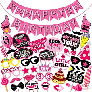 WOBBOX Third Birthday Photo Booth Party Props Pink for Baby Girl with 3rd Birthday Bunting Banner for Baby Girl in Pink, 3...