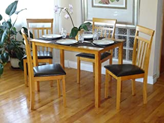 Rattan Wicker Furniture Dining Kitchen Set of 5 pcs Rectangular Table and 4 Side Warm Chairs Solid Wooden Maple Finish