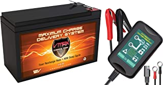 VMAX V10-63+BC612 12 Volt 10Ah Sealed Lead Acid High Perfomance AGM 12V Battery + 1.5A Battery Charger/Tender, 10Ah AGM Battery F2 Terminals for Lowrance Humminbird Piranha Garmin Fish Finder