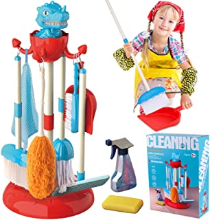 GINMIC Detachable Kids Cleaning Toy Set, Pretend Play Household Cleaning Tools - Includes Broom, Mop, Duster, Brush, Squirt Bottle and Hanging Stand Play, Housekeeping Toys for Toddlers Girls & Boys