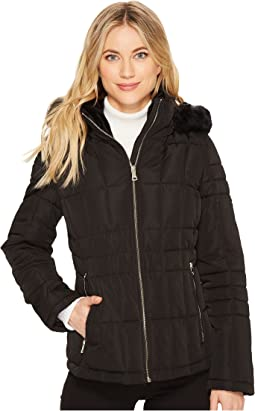 Puffer Short with Detachable Fur Trimmed Hood