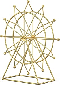 ART AMAZE Ferris Wheel Gold Accent DÉCOR-Metal Art Home Knick Knacks-Tabletop Small Figurines-Home Décor Accents -Living Room Bookshelf Decorations Object-Modern Gold Metal Sculptures