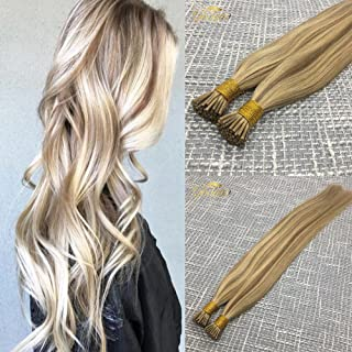 Googoo 16 inches Fusion Hair Extensions Highlighted Light Blonde with Golden Blonde Ombre I Tip Remy Stick Hair Extension 50 Strands 1g Per Strand