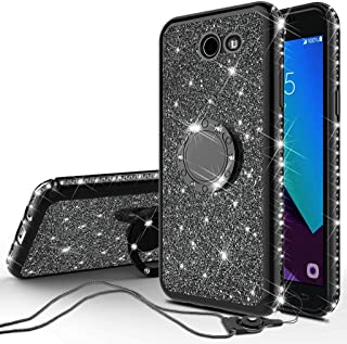 Compatible Samsung Galaxy J3 Eclipse/J3 Mission/Galaxy J3 Emerge,Galaxy J3 Prime 2017/Galaxy Luna Pro/Galaxy Sol 2/Amp Prime 2 Case Rhinestone Glitter Diamond Cover Ring Stand - Black