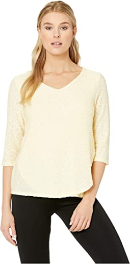 Textured Solid V-Neck 3/4 Sleeve Top with Overlapping Front Detail